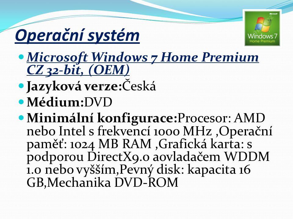 Operační systém Microsoft Windows 7 Home Premium CZ 32-bit, (OEM) Jazyková verze:Česká Médium:DVD Minimální konfigurace:Procesor: AMD nebo Intel s fre