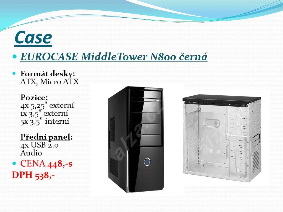 Case EUROCASE MiddleTower N800 černá Formát desky: ATX, Micro ATX Pozice: 4x 5,25