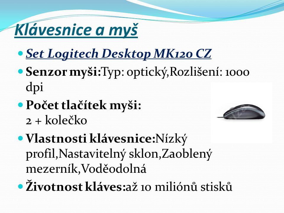 Klávesnice a myš Set Logitech Desktop MK120 CZ Senzor myši:Typ: optický,Rozlišení: 1000 dpi Počet tlačítek myši: 2 + kolečko Vlastnosti klávesnice:Níz