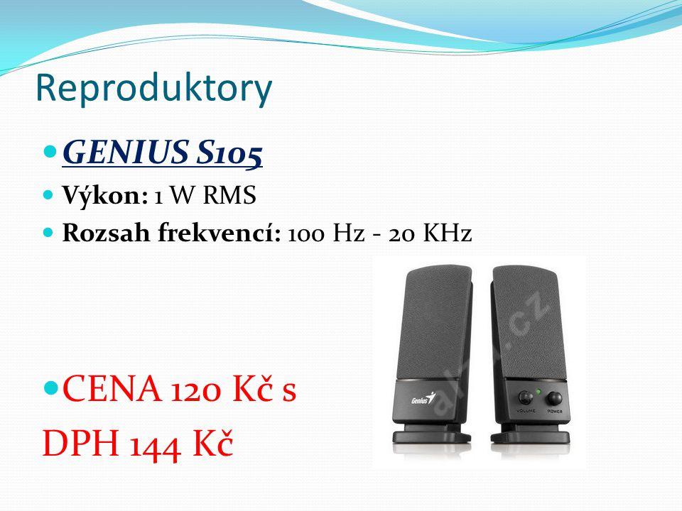 Reproduktory GENIUS S105 Výkon: 1 W RMS Rozsah frekvencí: 100 Hz - 20 KHz CENA 120 Kč s DPH 144 Kč