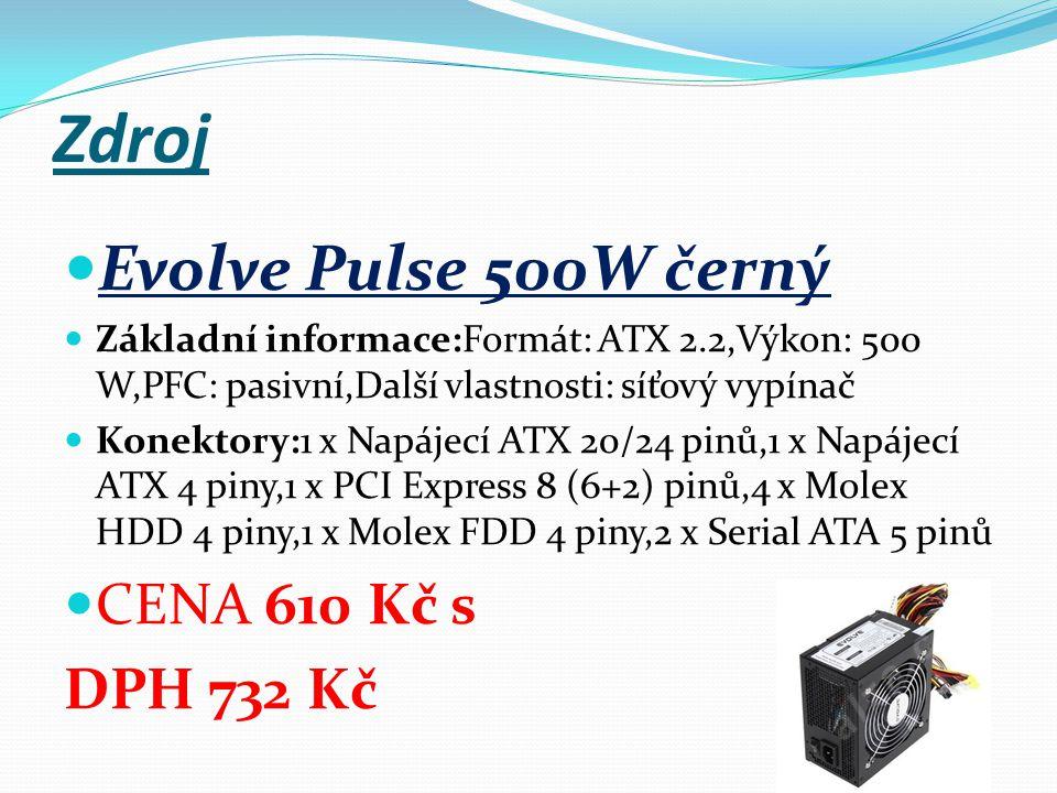 Zdroj Evolve Pulse 500W černý Základní informace:Formát: ATX 2.2,Výkon: 500 W,PFC: pasivní,Další vlastnosti: síťový vypínač Konektory:1 x Napájecí ATX