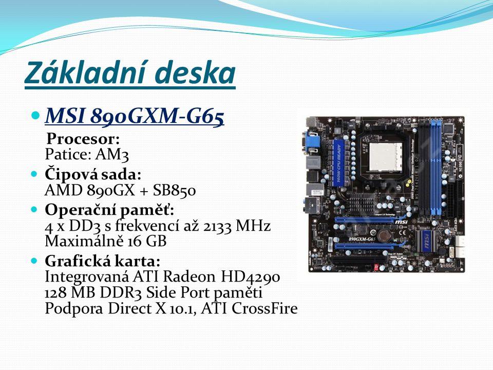 Základní deska MSI 890GXM-G65 Procesor: Patice: AM3 Čipová sada: AMD 890GX + SB850 Operační paměť: 4 x DD3 s frekvencí až 2133 MHz Maximálně 16 GB Gra