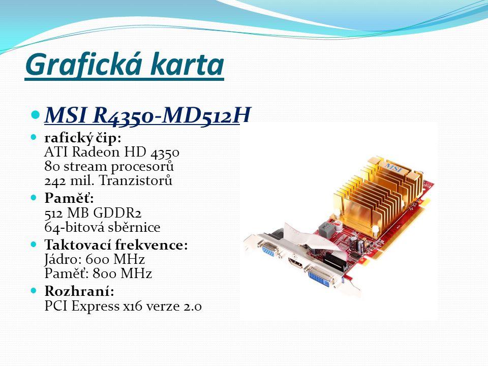 Výstupy: 1 x HDMI,1 x DVI-I,1 x D-Sub Podporované standardy a technologie:Microsoft DirectX 10.1,OpenGL 2.1,Shader Model 4.1,Vertex Model 4.1,Podpora CrossFire,Podpora HDCP Cena 677 Kč s DPH 812 Kč