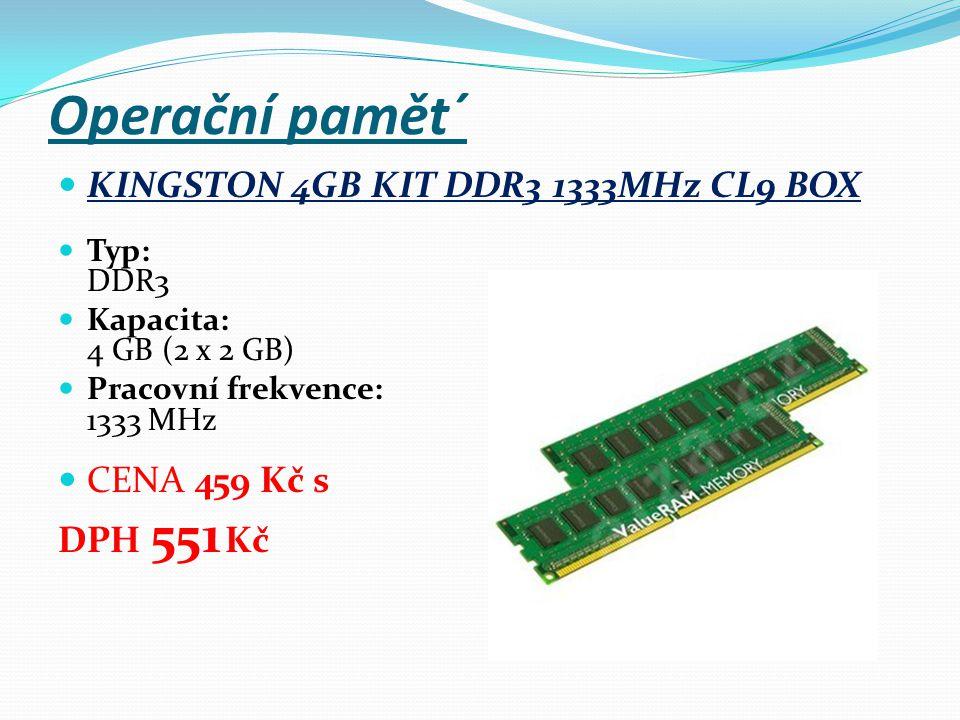 Operační pamět´ KINGSTON 4GB KIT DDR3 1333MHz CL9 BOX Typ: DDR3 Kapacita: 4 GB (2 x 2 GB) Pracovní frekvence: 1333 MHz CENA 459 Kč s DPH 551 Kč