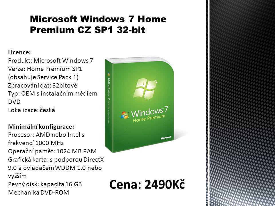 Microsoft Windows 7 Home Premium CZ SP1 32-bit Licence: Produkt: Microsoft Windows 7 Verze: Home Premium SP1 (obsahuje Service Pack 1) Zpracování dat: