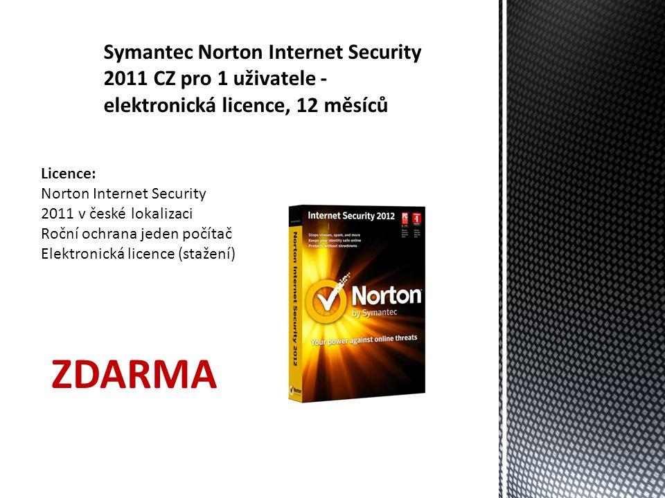 Symantec Norton Internet Security 2011 CZ pro 1 uživatele - elektronická licence, 12 měsíců Licence: Norton Internet Security 2011 v české lokalizaci