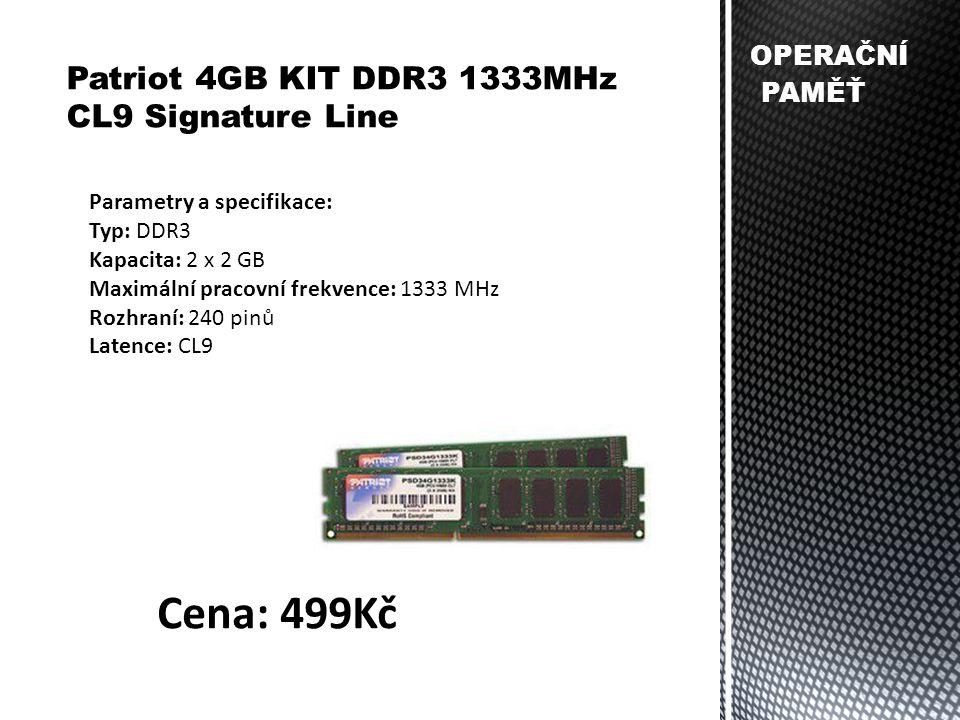 OPERAČNÍ PAMĚŤ Patriot 4GB KIT DDR3 1333MHz CL9 Signature Line Parametry a specifikace: Typ: DDR3 Kapacita: 2 x 2 GB Maximální pracovní frekvence: 133