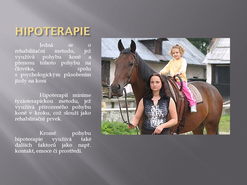 HIPOTERAPIE Jedná se o rehabilitační metodu, jež využívá pohybu koně a přenosu tohoto pohybu na člověka, spolu s psychologickým působením jízdy na kon