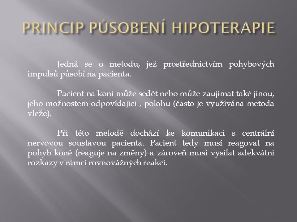 Jedná se o metodu, jež prostřednictvím pohybových impulsů působí na pacienta. Pacient na koni může sedět nebo může zaujímat také jinou, jeho možnostem
