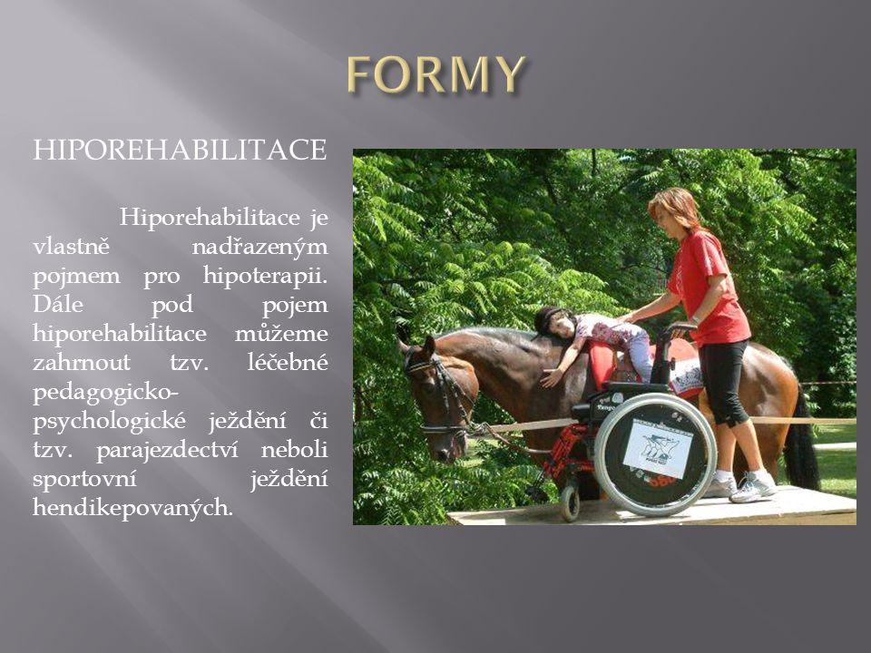 HIPOREHABILITACE Hiporehabilitace je vlastně nadřazeným pojmem pro hipoterapii. Dále pod pojem hiporehabilitace můžeme zahrnout tzv. léčebné pedagogic