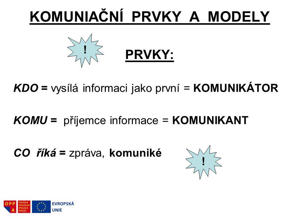 KOMUNIAČNÍ PRVKY A MODELY PRVKY: KDO = vysílá informaci jako první = KOMUNIKÁTOR KOMU = příjemce informace = KOMUNIKANT CO říká = zpráva, komuniké ! !