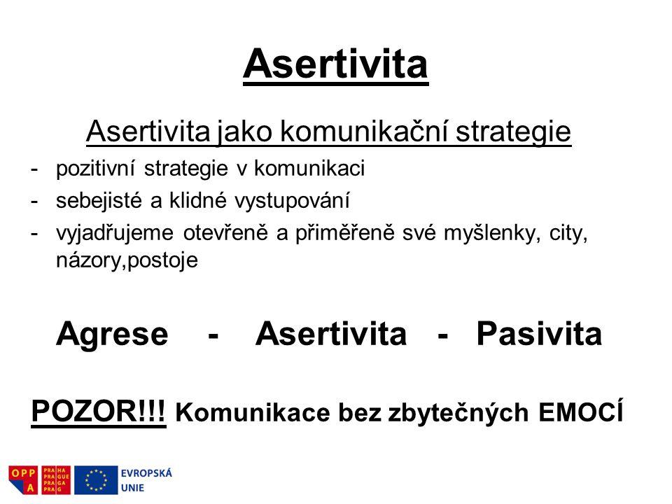 Asertivita Asertivita jako komunikační strategie -pozitivní strategie v komunikaci -sebejisté a klidné vystupování -vyjadřujeme otevřeně a přiměřeně s
