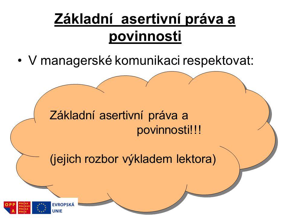 Základní asertivní práva a povinnosti V managerské komunikaci respektovat: Základní asertivní práva a povinnosti!!! (jejich rozbor výkladem lektora) Z