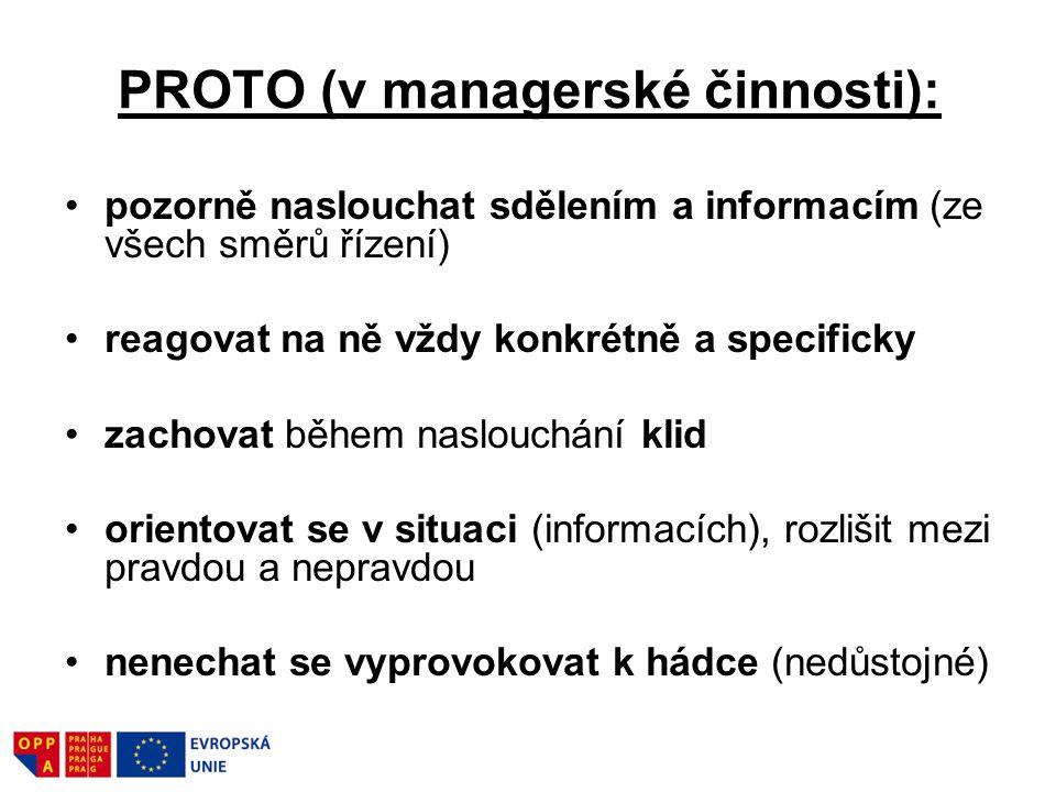 PROTO (v managerské činnosti): pozorně naslouchat sdělením a informacím (ze všech směrů řízení) reagovat na ně vždy konkrétně a specificky zachovat bě