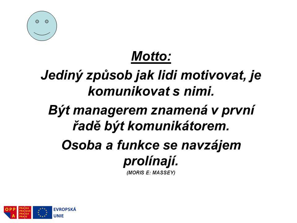 Motto: Jediný způsob jak lidi motivovat, je komunikovat s nimi. Být managerem znamená v první řadě být komunikátorem. Osoba a funkce se navzájem prolí