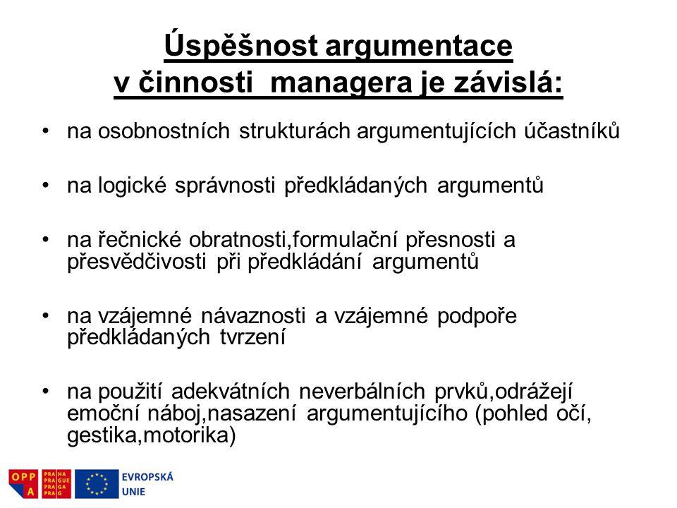 Úspěšnost argumentace v činnosti managera je závislá: na osobnostních strukturách argumentujících účastníků na logické správnosti předkládaných argume
