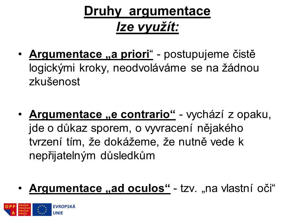 """Druhy argumentace lze využít: Argumentace """"a priori"""" - postupujeme čistě logickými kroky, neodvoláváme se na žádnou zkušenost Argumentace """"e contrario"""