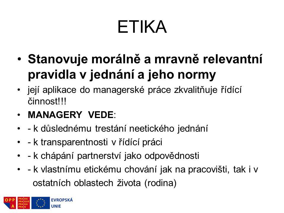 ETIKA Stanovuje morálně a mravně relevantní pravidla v jednání a jeho normy její aplikace do managerské práce zkvalitňuje řídící činnost!!! MANAGERY V
