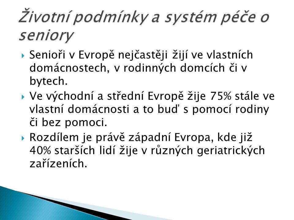  Senioři v Evropě nejčastěji žijí ve vlastních domácnostech, v rodinných domcích či v bytech.  Ve východní a střední Evropě žije 75% stále ve vlastn