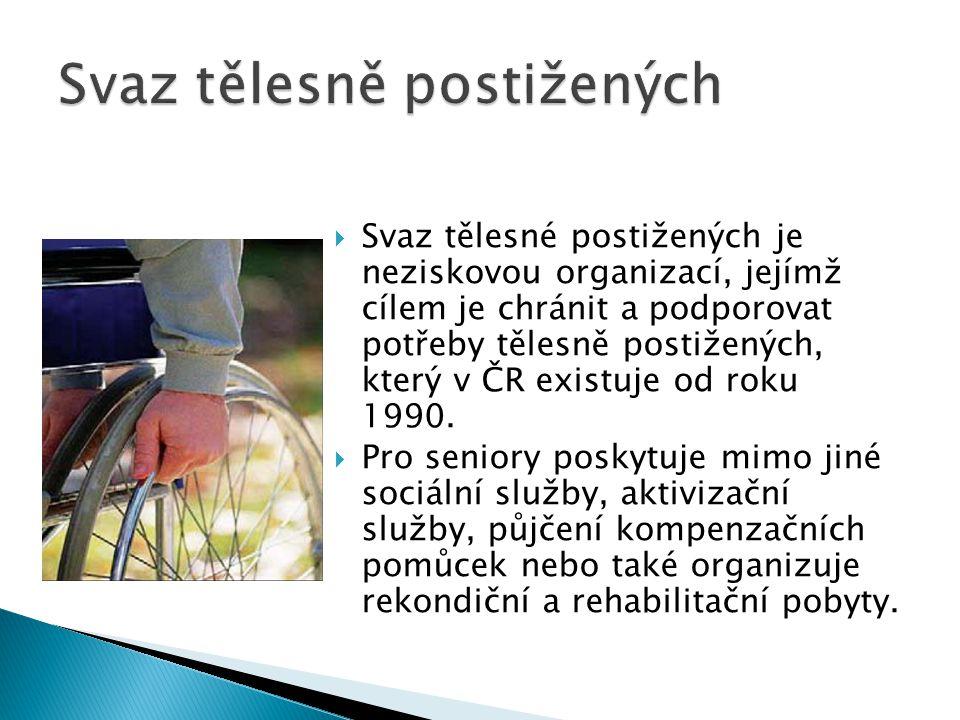  Svaz tělesné postižených je neziskovou organizací, jejímž cílem je chránit a podporovat potřeby tělesně postižených, který v ČR existuje od roku 199