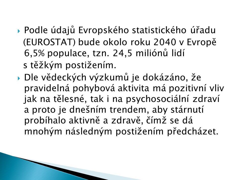  Podle údajů Evropského statistického úřadu (EUROSTAT) bude okolo roku 2040 v Evropě 6,5% populace, tzn. 24,5 miliónů lidí s těžkým postižením.  Dle