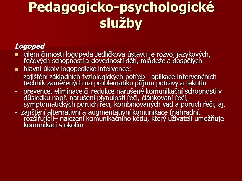 Pedagogicko-psychologické služby Logoped cílem činnosti logopeda Jedličkova ústavu je rozvoj jazykových, řečových schopností a dovedností dětí, mládež