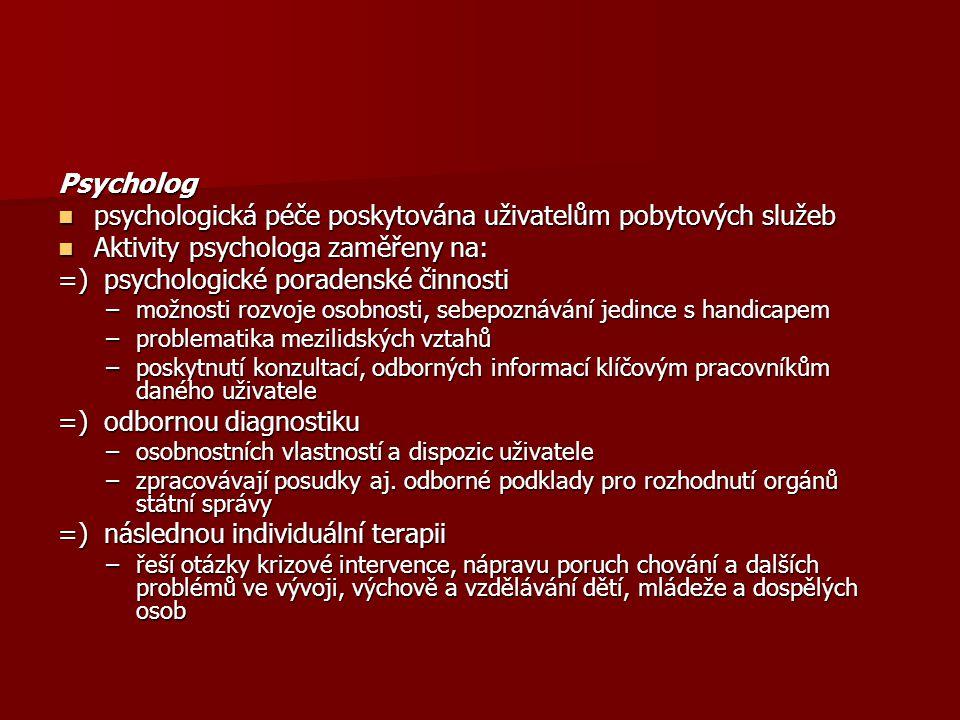 Psycholog psychologická péče poskytována uživatelům pobytových služeb psychologická péče poskytována uživatelům pobytových služeb Aktivity psychologa