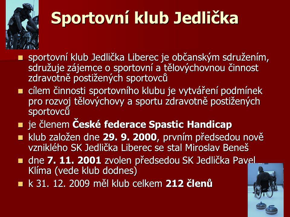 Sportovní klub Jedlička sportovní klub Jedlička Liberec je občanským sdružením, sdružuje zájemce o sportovní a tělovýchovnou činnost zdravotně postiže