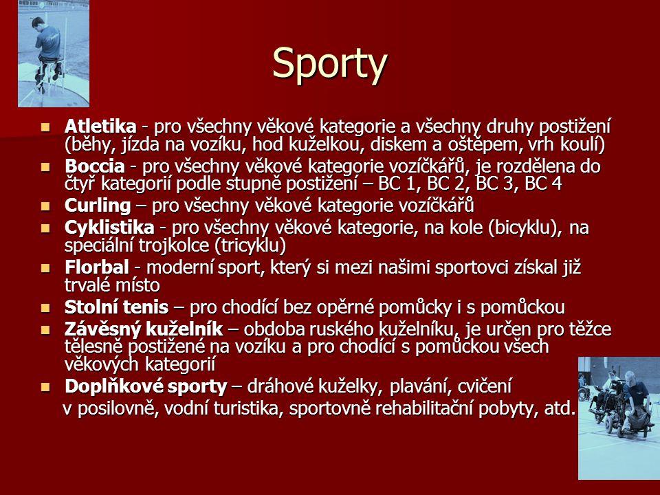 Sporty Atletika - pro všechny věkové kategorie a všechny druhy postižení (běhy, jízda na vozíku, hod kuželkou, diskem a oštěpem, vrh koulí) Atletika -