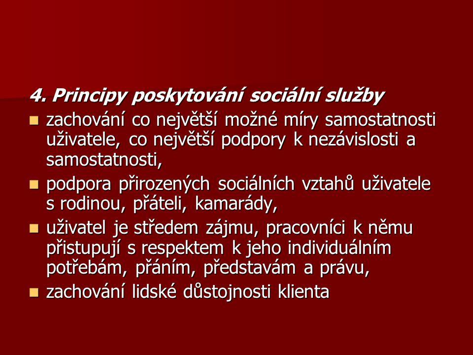 4. Principy poskytování sociální služby zachování co největší možné míry samostatnosti uživatele, co největší podpory k nezávislosti a samostatnosti,