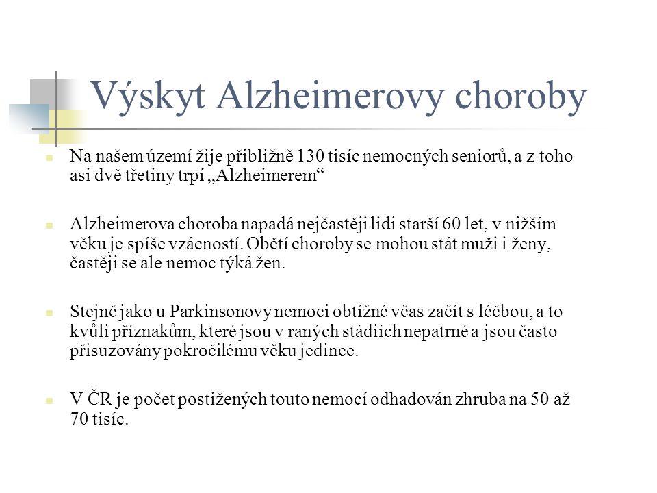 """Výskyt Alzheimerovy choroby Na našem území žije přibližně 130 tisíc nemocných seniorů, a z toho asi dvě třetiny trpí """"Alzheimerem"""" Alzheimerova chorob"""