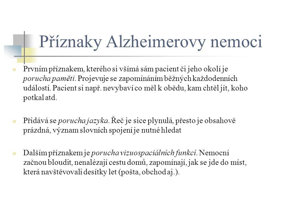 Příznaky Alzheimerovy nemoci Prvním příznakem, kterého si všímá sám pacient či jeho okolí je porucha paměti. Projevuje se zapomínáním běžných každoden