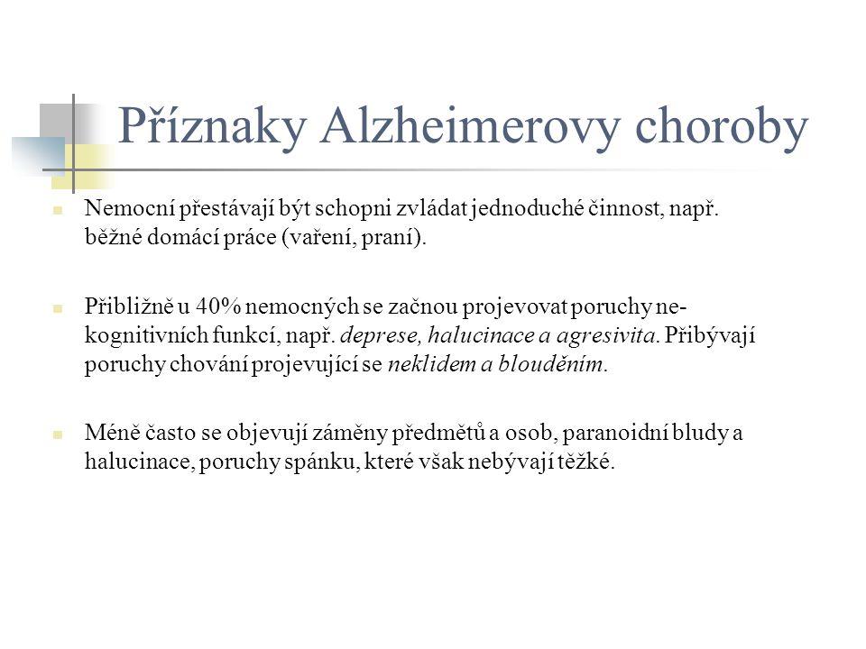 Příznaky Alzheimerovy choroby Nemocní přestávají být schopni zvládat jednoduché činnost, např. běžné domácí práce (vaření, praní). Přibližně u 40% nem