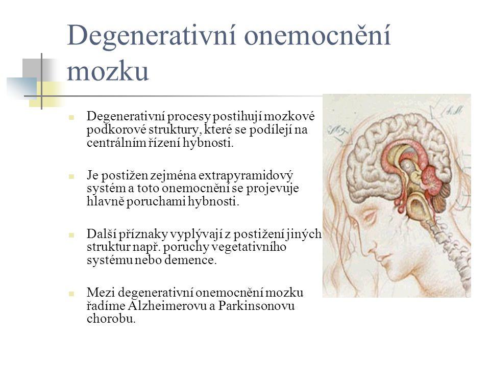 Degenerativní onemocnění mozku Degenerativní procesy postihují mozkové podkorové struktury, které se podílejí na centrálním řízení hybnosti. Je postiž