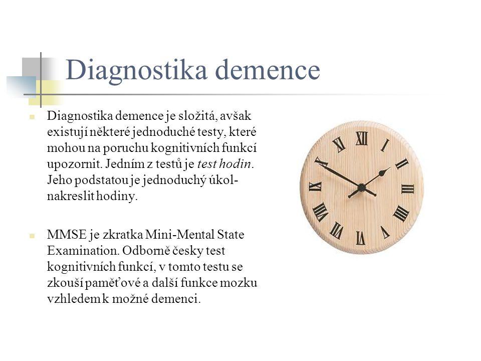 Diagnostika demence Diagnostika demence je složitá, avšak existují některé jednoduché testy, které mohou na poruchu kognitivních funkcí upozornit. Jed