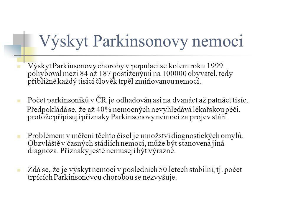 Výskyt Parkinsonovy nemoci Výskyt Parkinsonovy choroby v populaci se kolem roku 1999 pohyboval mezi 84 až 187 postiženými na 100000 obyvatel, tedy při