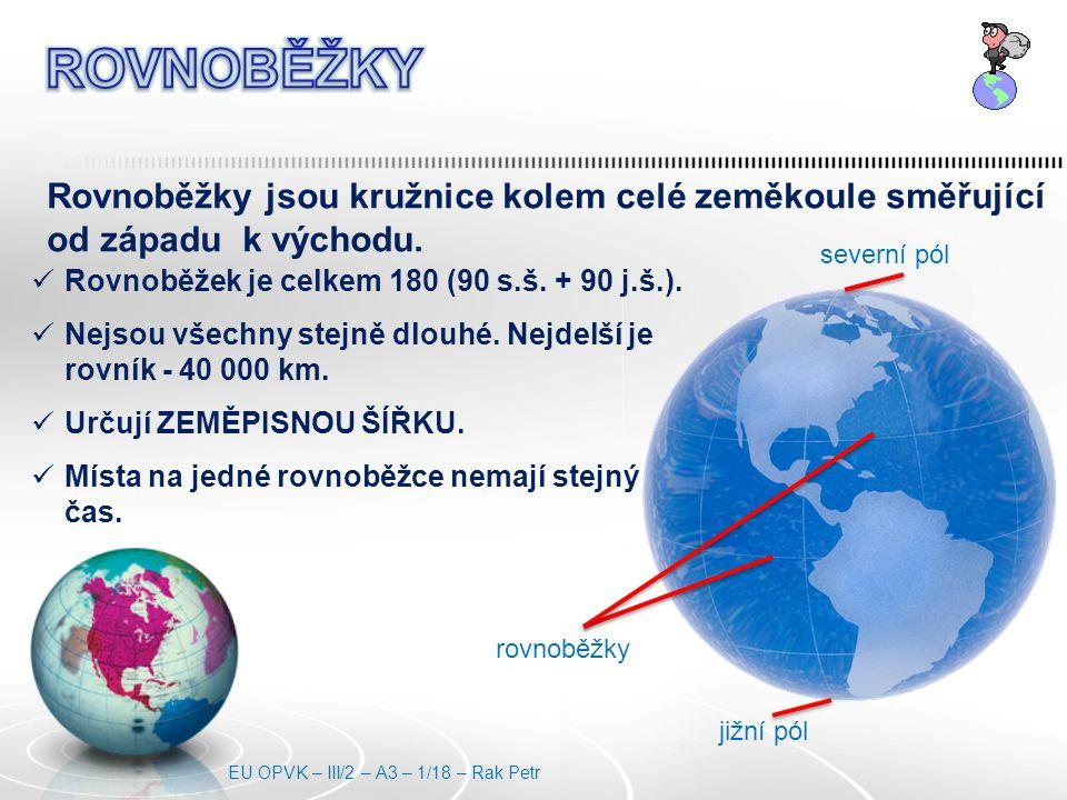Rovnoběžky jsou kružnice kolem celé zeměkoule směřující od západu k východu.