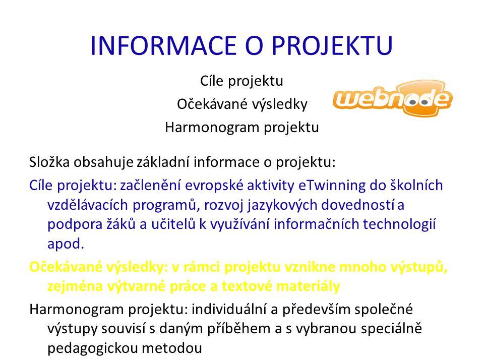 INFORMACE O PROJEKTU Cíle projektu Očekávané výsledky Harmonogram projektu Složka obsahuje základní informace o projektu: Cíle projektu: začlenění evr