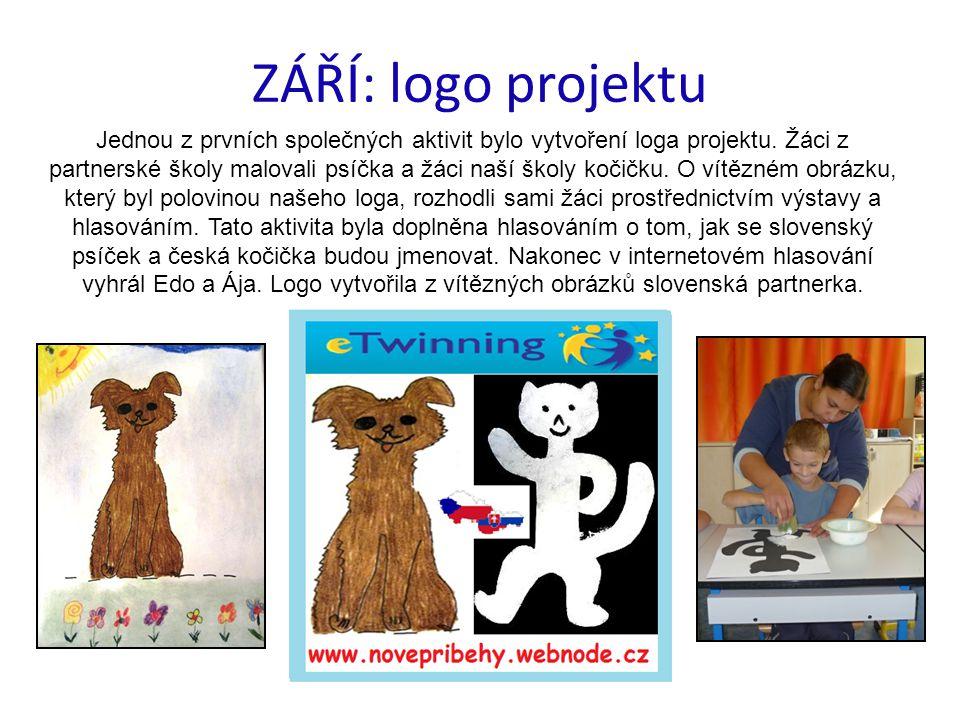 ZÁŘÍ: logo projektu Jednou z prvních společných aktivit bylo vytvoření loga projektu. Žáci z partnerské školy malovali psíčka a žáci naší školy kočičk
