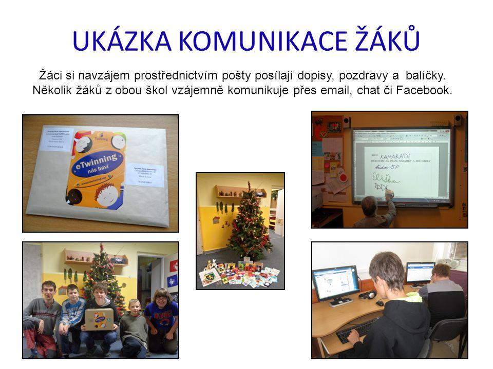UKÁZKA KOMUNIKACE ŽÁKŮ Žáci si navzájem prostřednictvím pošty posílají dopisy, pozdravy a balíčky. Několik žáků z obou škol vzájemně komunikuje přes e