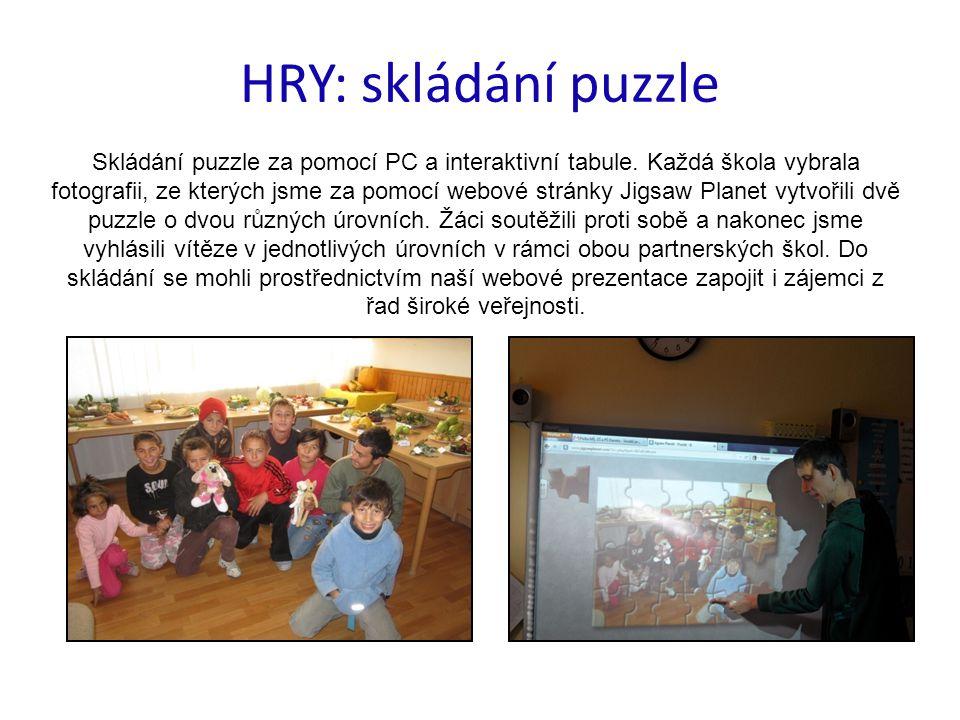 HRY: skládání puzzle Skládání puzzle za pomocí PC a interaktivní tabule. Každá škola vybrala fotografii, ze kterých jsme za pomocí webové stránky Jigs