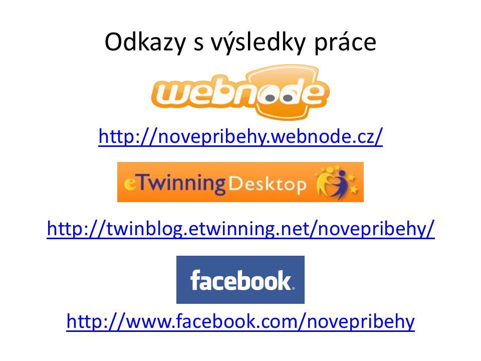 Odkazy s výsledky práce http://novepribehy.webnode.cz/ http://twinblog.etwinning.net/novepribehy/ http://www.facebook.com/novepribehy