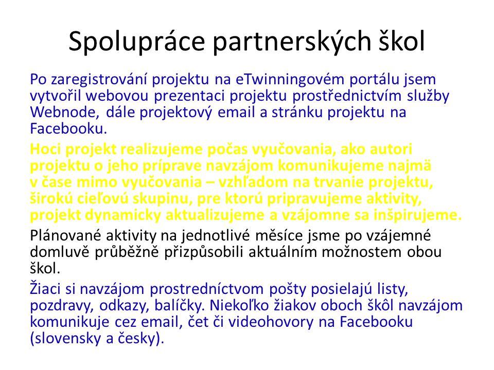 Spolupráce partnerských škol Po zaregistrování projektu na eTwinningovém portálu jsem vytvořil webovou prezentaci projektu prostřednictvím služby Webn