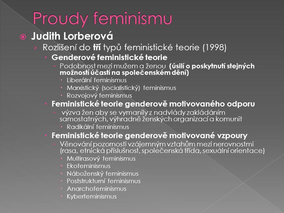  Judith Lorberová › Rozlišení do tří typů feministické teorie (1998)  Genderové feministické teorie  Podobnost mezi mužem a ženou (úsilí o poskytnutí stejných možností účastí na společenském dění)  Liberální feminismus  Marxistický (socialistický) feminismus  Rozvojový feminismus  Feministické teorie genderově motivovaného odporu  výzva žen aby se vymanily z nadvlády zakládáním samostatných, výhradně ženských organizací a komunit  Radikální feminismus  Feministické teorie genderově motivované vzpoury  Věnování pozornosti vzájemným vztahům mezi nerovnostmi (rasa, etnická příslušnost, společenská třída, sexuální orientace)  Multirasový feminismus  Ekofeminismus  Náboženský feminismus  Poststrukturní feminismus  Anarchofeminismus  Kyberfeminismus