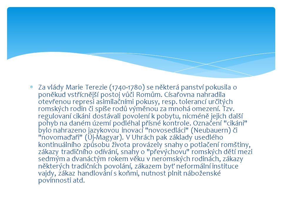  Za vlády Marie Terezie (1740-1780) se některá panství pokusila o poněkud vstřícnější postoj vůči Romům. Císařovna nahradila otevřenou represi asimil