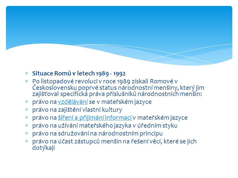  Situace Romů v letech 1989 - 1992  Po listopadové revoluci v roce 1989 získali Romové v Československu poprvé status národnostní menšiny, který jim