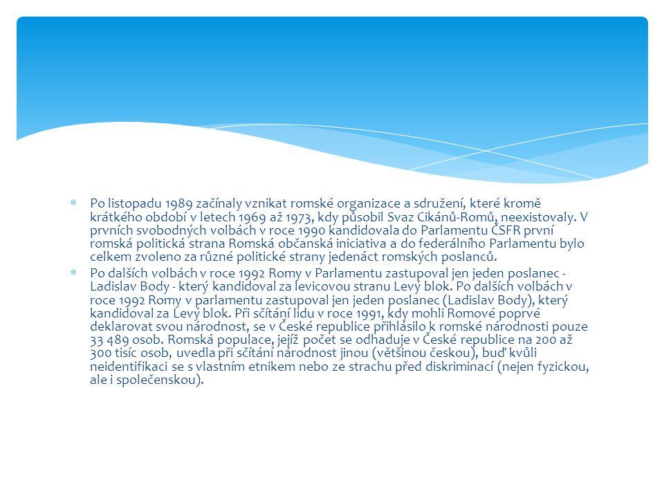  Po listopadu 1989 začínaly vznikat romské organizace a sdružení, které kromě krátkého období v letech 1969 až 1973, kdy působil Svaz Cikánů-Romů, ne