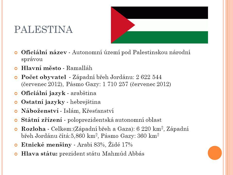 PALESTINA Oficiální název - Autonomní území pod Palestinskou národní správou Hlavní město - Ramalláh Počet obyvatel - Západní břeh Jordánu: 2 622 544