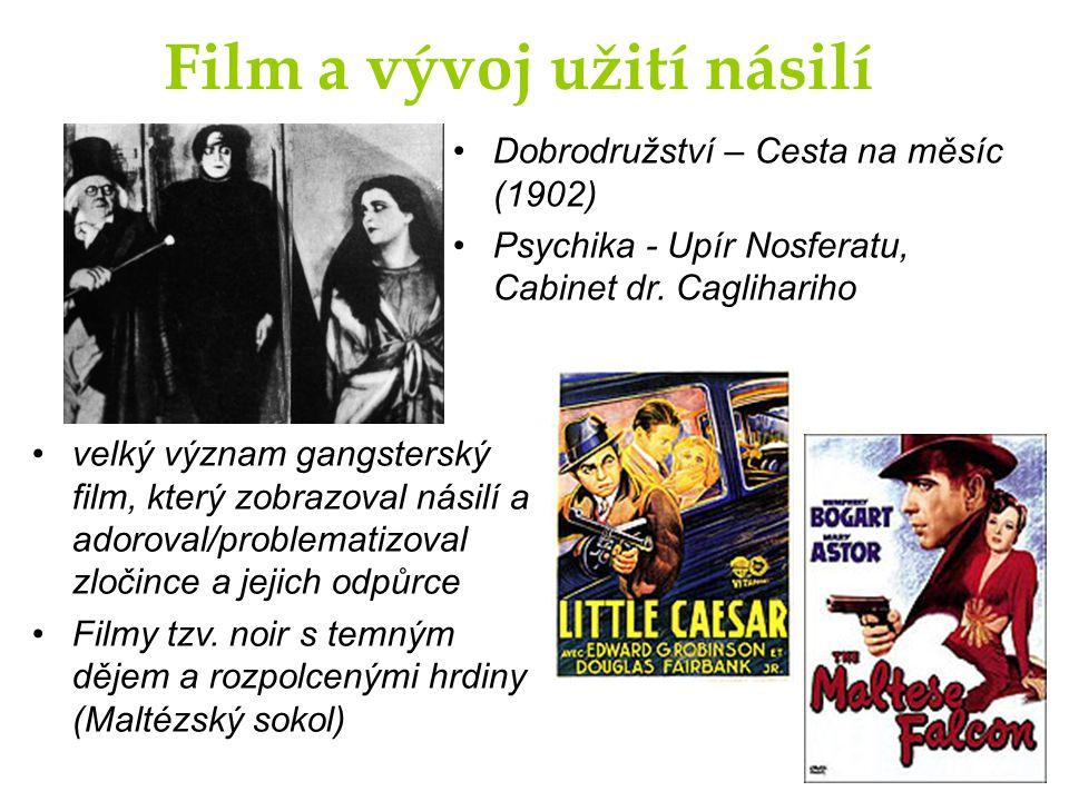 Film a vývoj užití násilí Dobrodružství – Cesta na měsíc (1902) Psychika - Upír Nosferatu, Cabinet dr. Caglihariho velký význam gangsterský film, kter