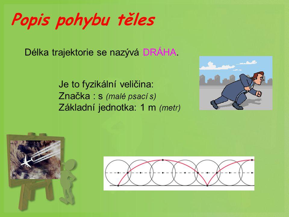 Délka trajektorie se nazývá DRÁHA. Je to fyzikální veličina: Značka : s (malé psací s) Základní jednotka: 1 m (metr) Popis pohybu těles